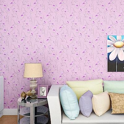 半島良品 防水PVC自黏裝飾牆紙45x200cm-紫色小花