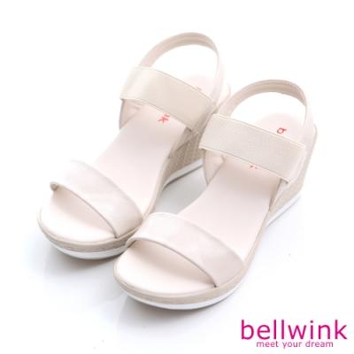 bellwink 彈性繃條平底增高涼鞋-白色-b9805we