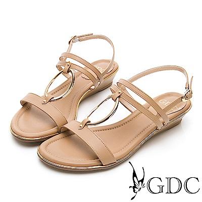 GDC-歐美真皮金屬圓圈楔型一字涼鞋-卡其色