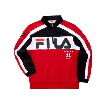 FILA KIDS 童針織立領長袖T恤-紅 1TET-8403-RD