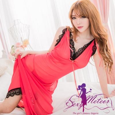 性感睡衣 全尺碼 深V柔紗蕾絲兩穿二件式性感長版睡衣組(珊瑚紅) Sexy Meteor
