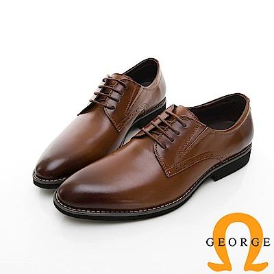 【GEORGE 喬治皮鞋】輕量系列 舒適綁帶柔軟紳士皮鞋-棕色 @ Y!購物
