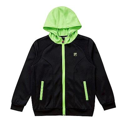 FILA KIDS 童吸濕排汗連帽外套-黑 1JKS-8306-BK