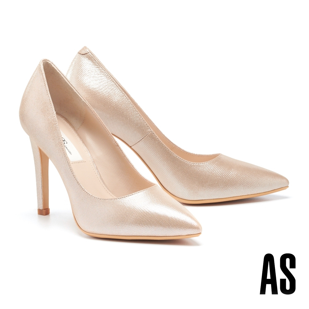 高跟鞋 AS 唯美氣質全羊皮美型尖頭高跟鞋-金