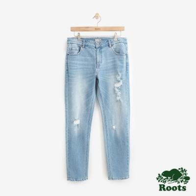 Roots男裝 DENIM-合身刷破牛仔長褲