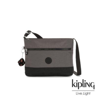 Kipling 異國土棕灰簡約拉鍊側背方包-MAVEN