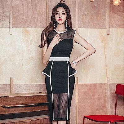 DABI 韓國風名媛修身網紗網眼透視拼接包邊無袖洋裝