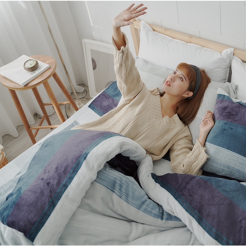 BUHO 極柔暖法蘭絨(6x7尺)標準雙人兩用被套毯(夜調旅人)