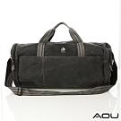 AOU 多功能帆布圓筒旅行袋 行李袋 工具包 收納包 露營收納(黑灰)1026