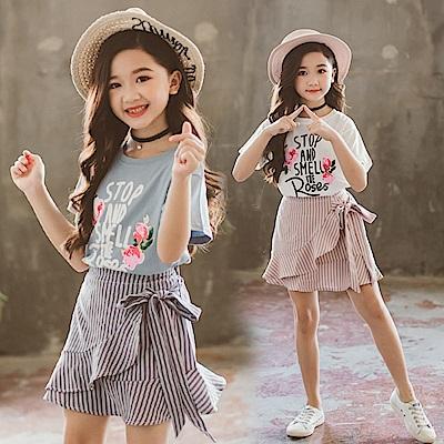 小衣衫童裝  中大童花兒短袖T旭斜花邊條紋短裙套裝1080416