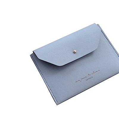 ICONIC 職人風格皮革票卡夾零錢包L-天空藍