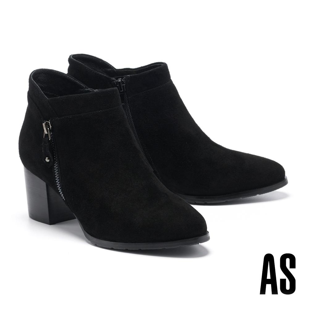 踝靴 AS 個性百搭拉練造型麂皮高跟踝靴-黑