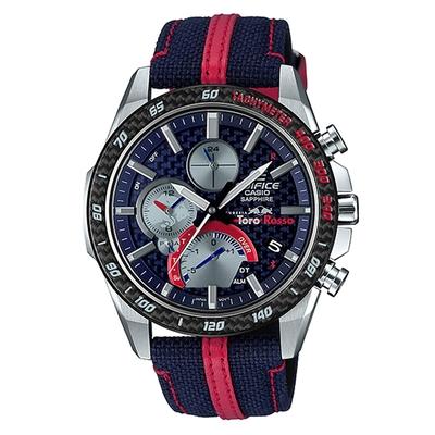 CASIO EDIFICE輕薄系列F1賽車紅牛二隊聯名錶款三眼不鏽鋼腕錶-(EQB-1000TR-2A)/45.6mm