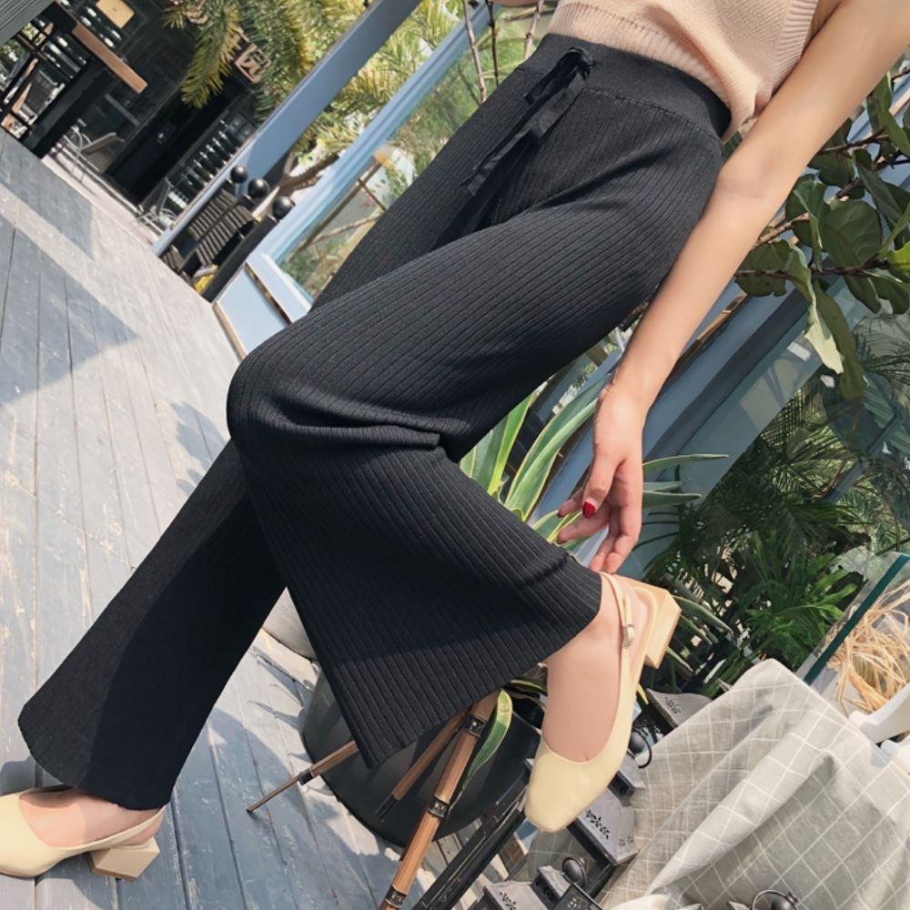 La Belleza鬆緊腰粗抽繩粗坑條彈性包心紗針織垂墬闊腿褲