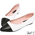 Ann'S經典雙色全真皮尖頭平底鞋-白