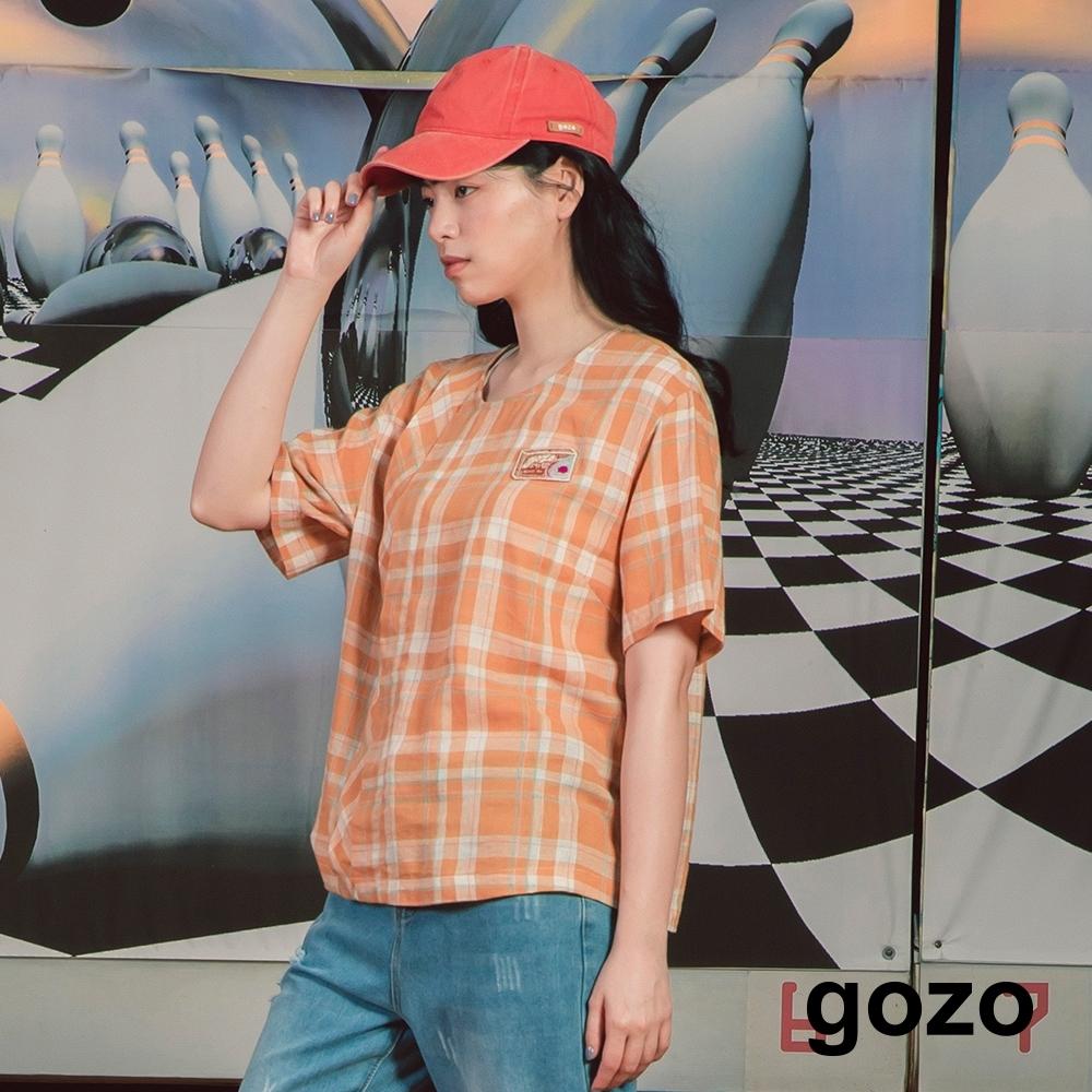 gozo-仿棉麻質感格紋上衣(兩色)