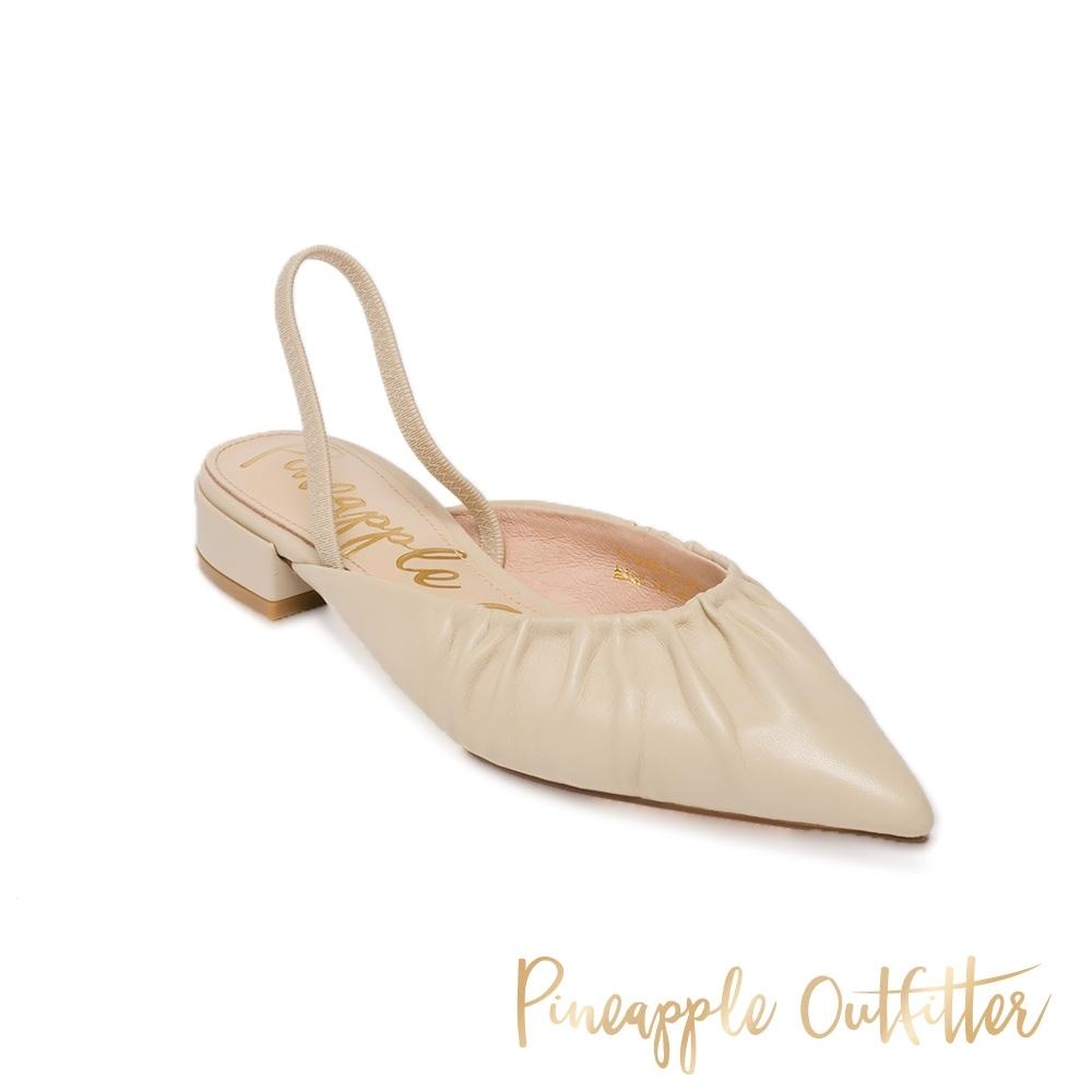 Pineapple Outfitter-HAZZLLE 優雅羊皮尖頭女涼鞋-白色