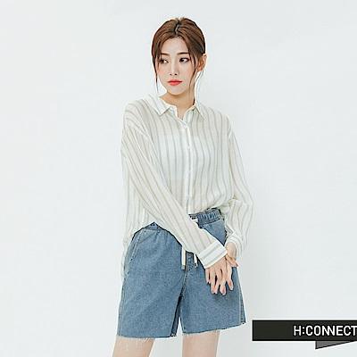 H:CONNECT 韓國品牌 女裝-直條紋配色嫘縈襯衫-綠