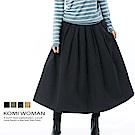 【KOMI】磨毛棉壓褶鬆緊長裙(四色)