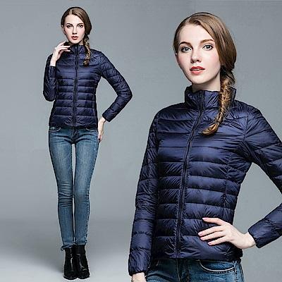【KISSDIAMOND】SGS認證輕量立領90+羽絨外套女款藏青