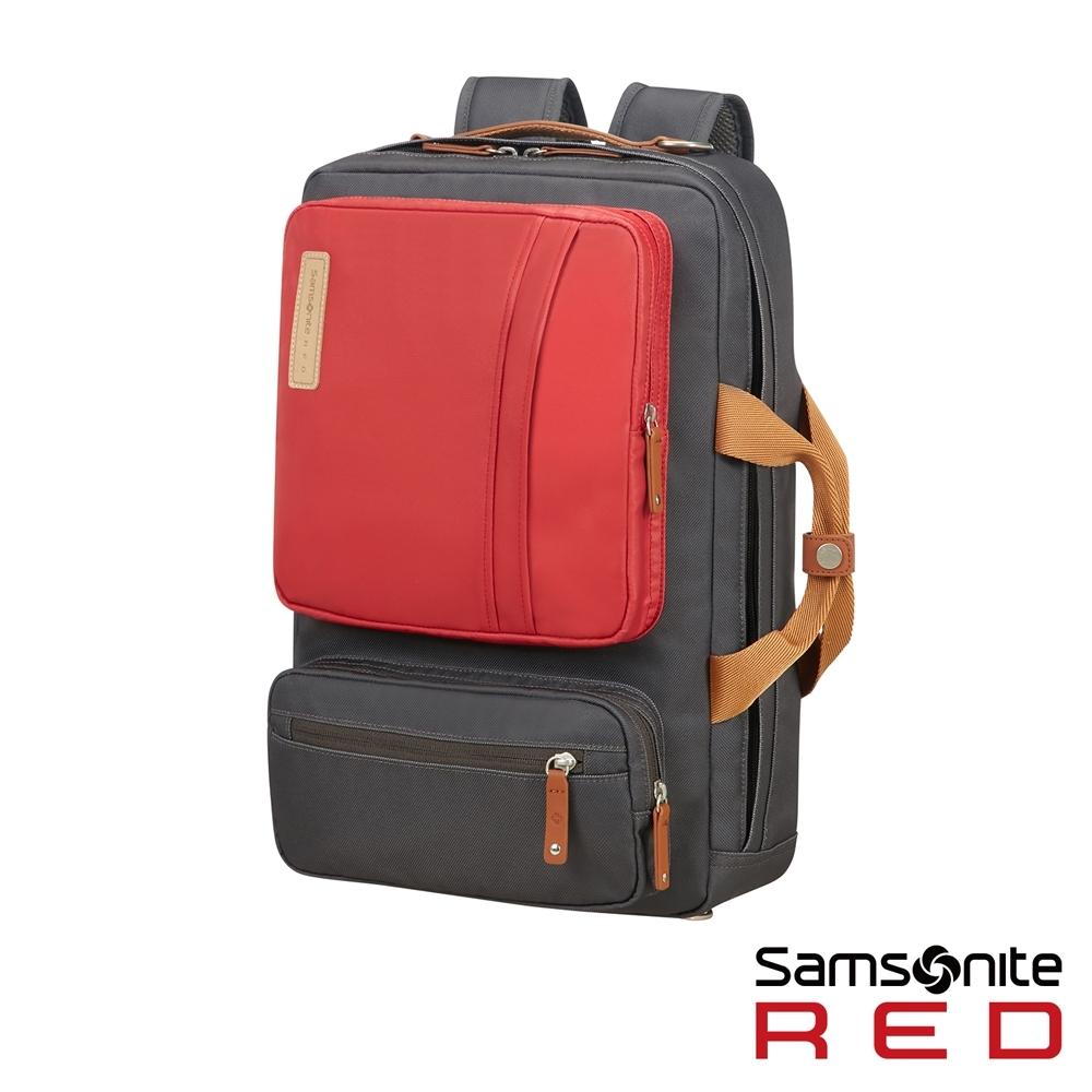 Samsonite RED EASY-WAY 時尚配色多功能三用筆電後背包(深灰)
