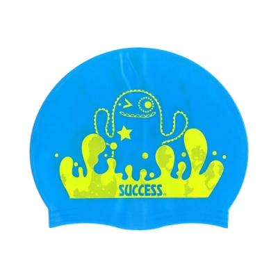 泳帽 成功SUCCESS 超彈性兒童矽膠泳帽S666 -藍