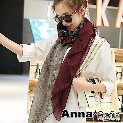 AnnaSofia 謐彩樹影 拷克邊韓國棉圍巾披肩(咖紅漸層系)