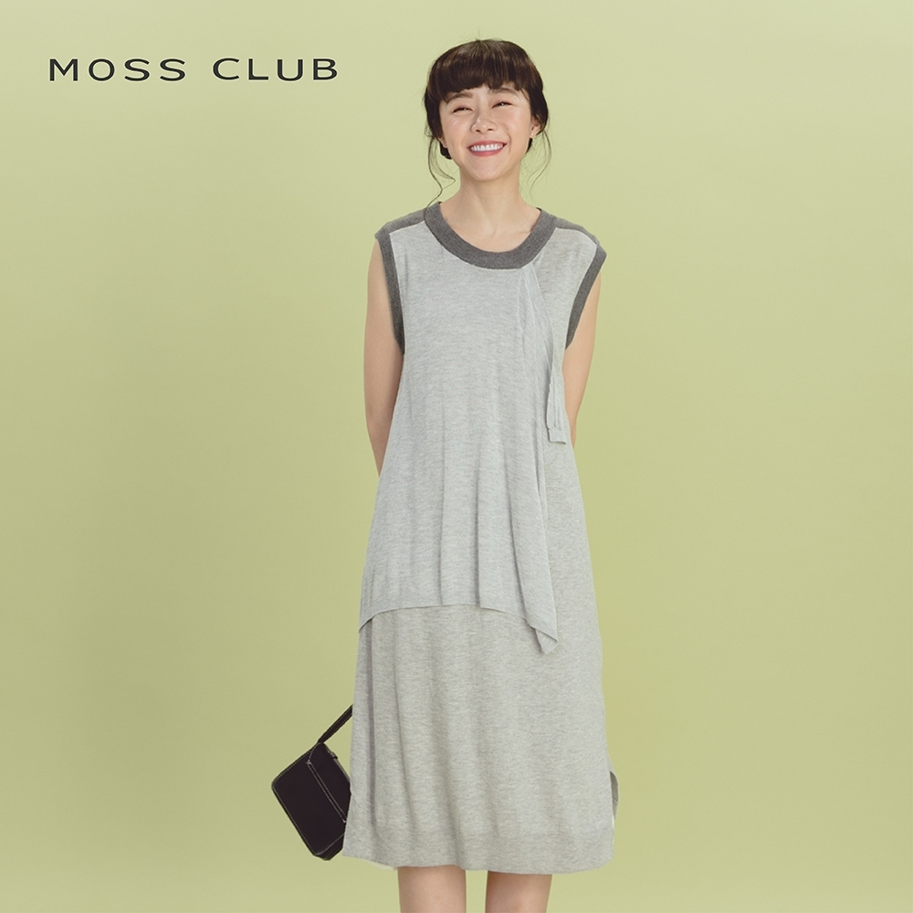 【MOSS CLUB】無袖造型剪裁-針織衫(灰色)