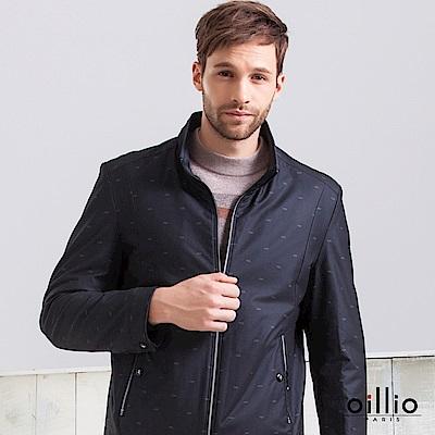 歐洲貴族 oillio 休閒夾克 立領飛行外套 滿版圖樣 黑色