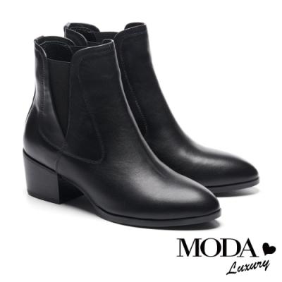 短靴 MODA Luxury 時髦輪廓異材質拼接設計粗跟短靴-黑