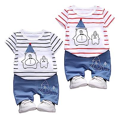 JoyNa 童裝短袖襯衫兩熊套裝