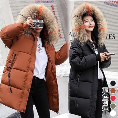 【韓國K.W.】毛帽輕量保暖羽绒中長外套(五色可選)
