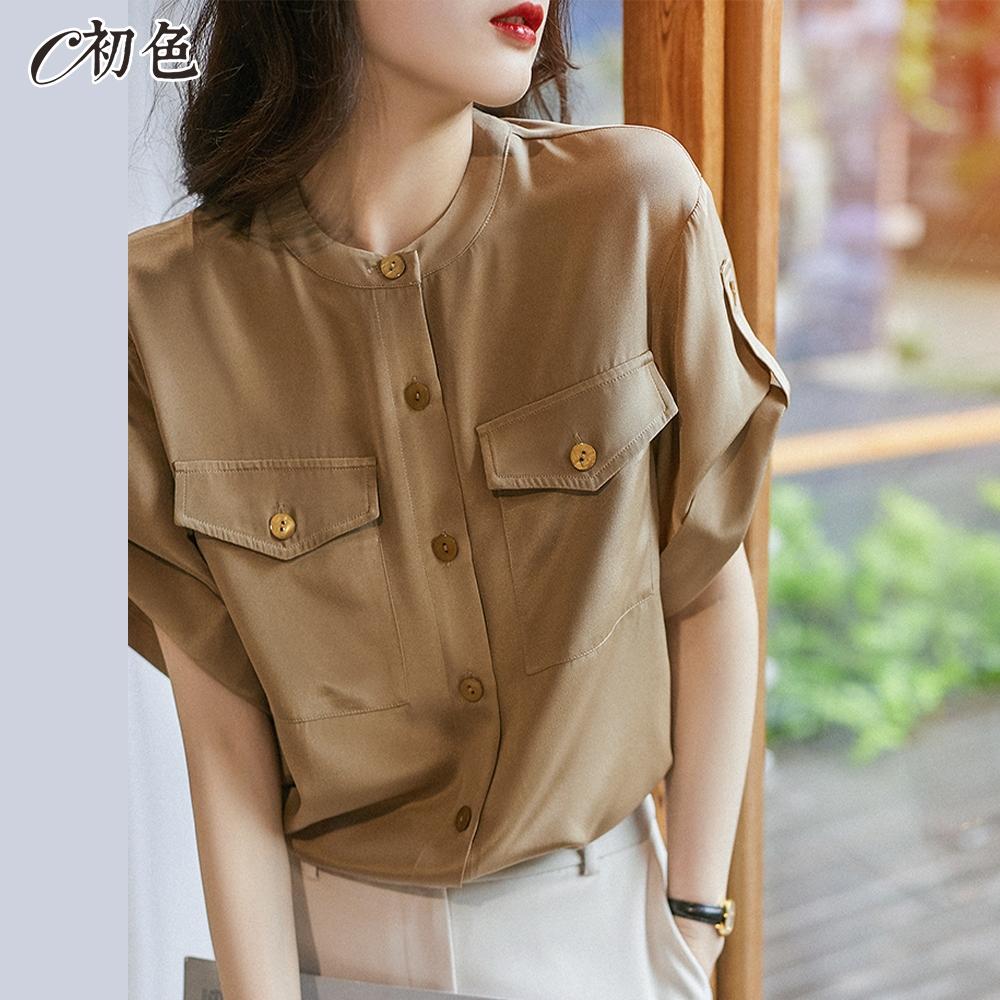 初色  工裝風大口袋襯衫-駝色-(M-2XL可選)