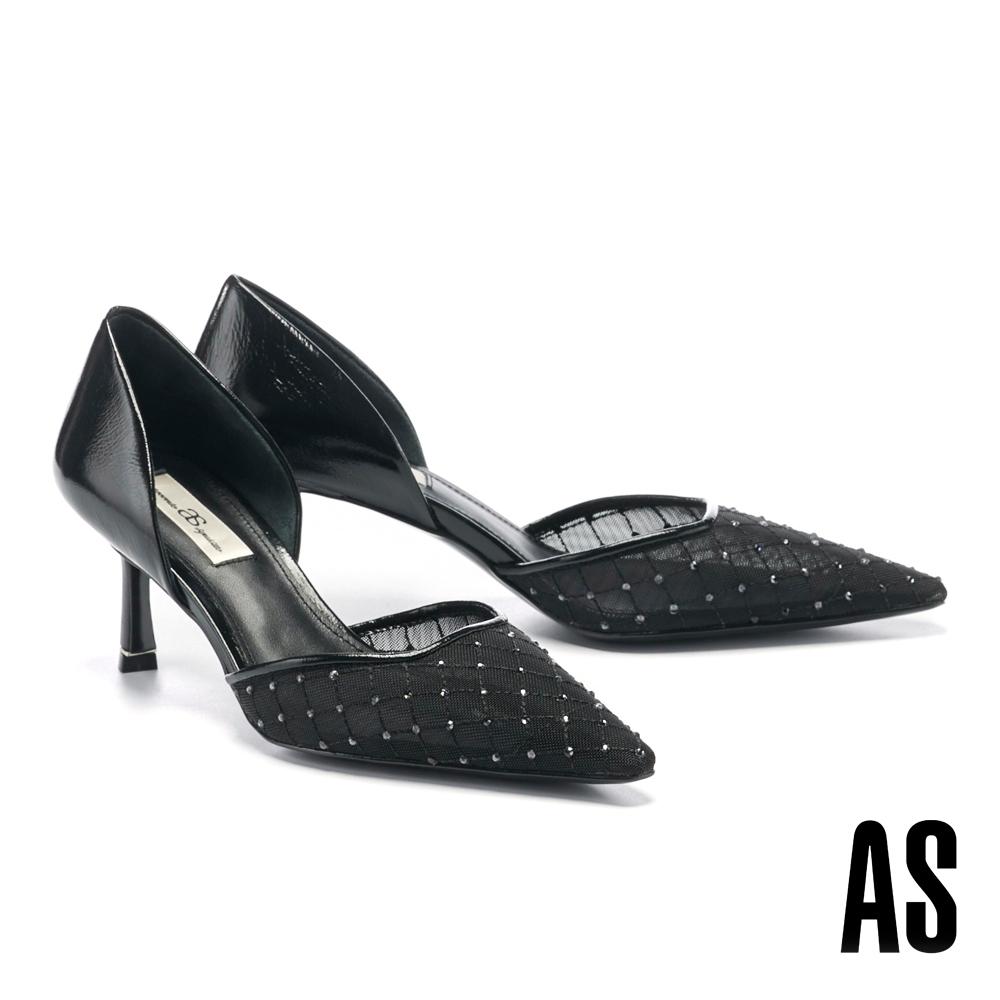 高跟鞋 AS 迷幻歌德晶鑽鏤空側空造型尖頭高跟鞋-黑