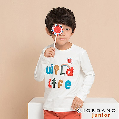 GIORDANO 童裝冒險旅程印花長袖T恤-41 低調白