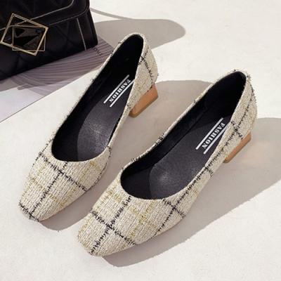 KEITH-WILL時尚鞋館 自外穿搭格紋方頭粗跟鞋-米