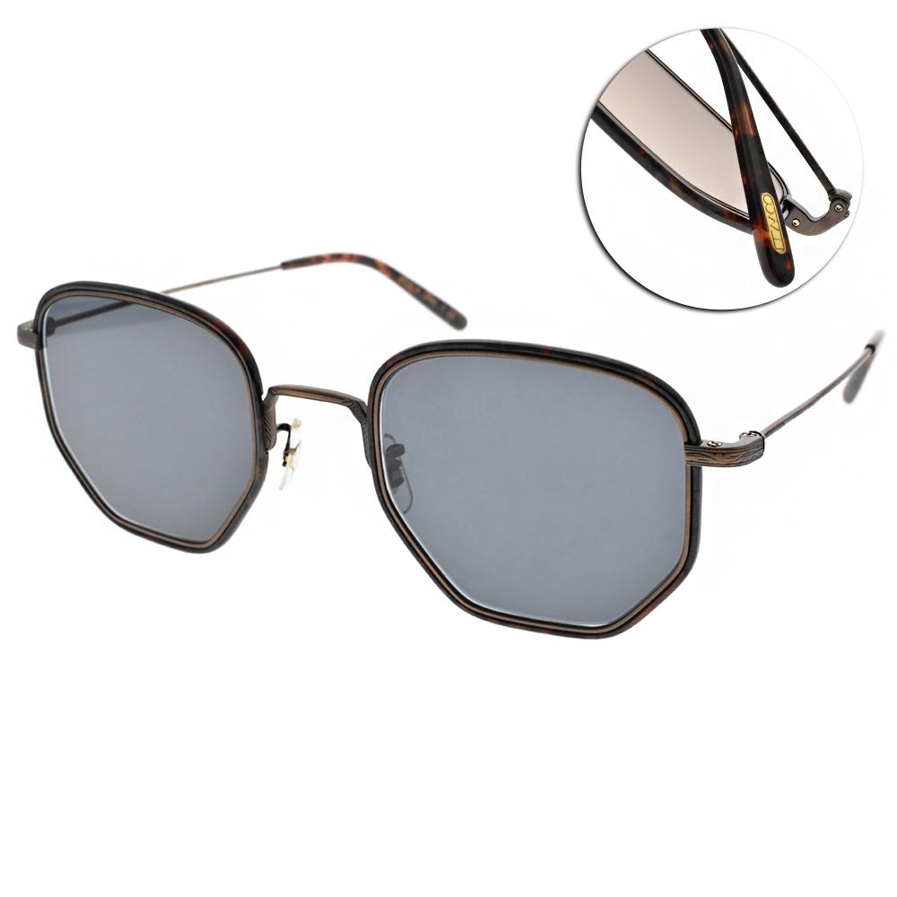 OLIVER PEOPLES太陽眼鏡  復古多邊框/斑斕銅-藍#ALLAND 5285R5