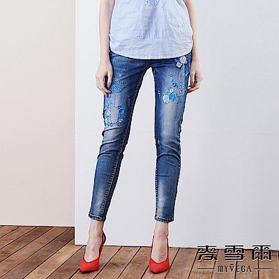 【麥雪爾】棉質花漾刺繡水洗牛仔褲