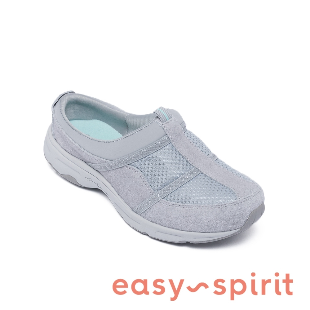 Easy Spirit-seARGYLE 天然牛皮舒適休閒包覆拖鞋-灰色