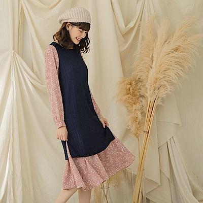 仿針織拼接花朵雪紡假兩件式洋裝-OB大尺碼