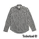 Timberland 男款晶片灰修身格紋法蘭絨襯衫|A1NMS