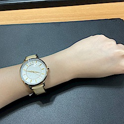 A│X Armani Exchange優雅圓舞曲時尚女錶-米黃(AX5301)/38mm