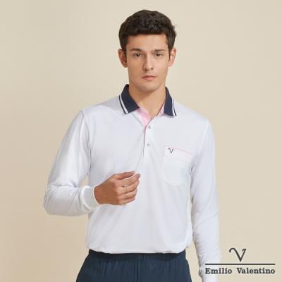 Emilio Valentino范倫鐵諾時尚風潮經典素面POLO衫_白(66-V3158)