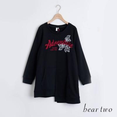 bear two- 冒險玫瑰造型上衣 - 黑