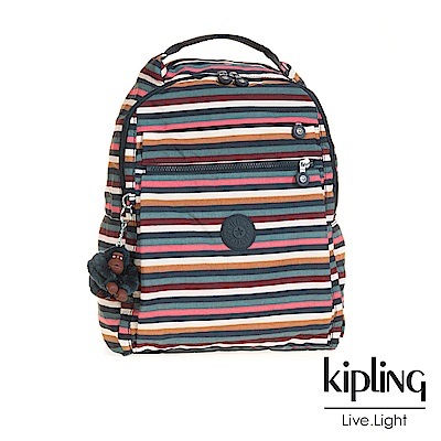 Kipling 後背包 彩色拼接條紋-大