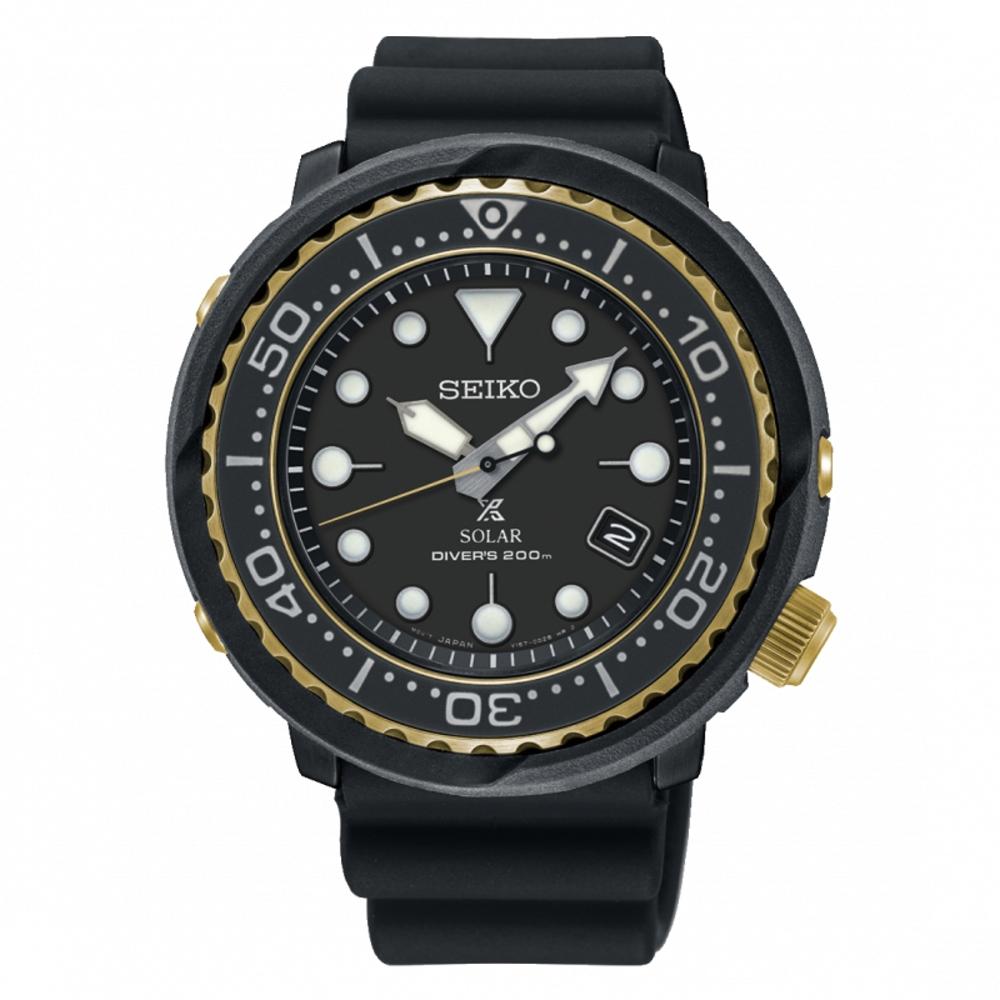 SEIKO PROSPEX 廣告款太陽能潛水橡膠腕錶/V157-0CX0X/SNE498P