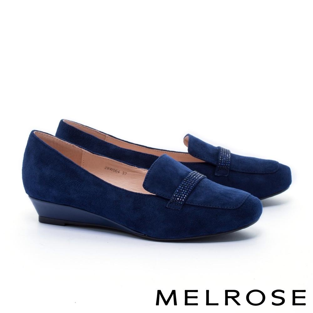 高跟鞋 MELROSE 氣質知性晶鑽全真皮楔型低跟鞋-藍
