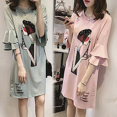 【韓國K.W.】樂活舒適荷葉袖洋裝-2色