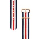 Daniel Wellington 玫瑰金扣尼龍錶帶-藍x白x紅/18mm