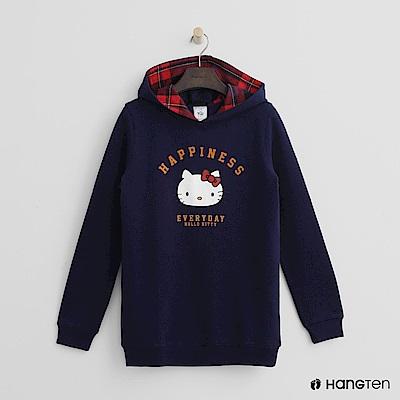 Hang Ten - 女裝 - Hello Kitty 系列格紋拼接帽T-藍